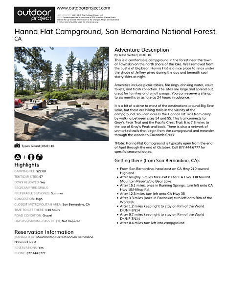 Hanna Flat Campground Field Guide