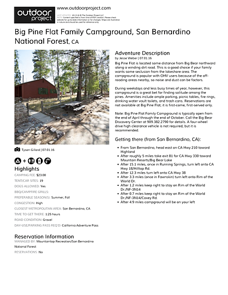 Big Pine Flat Family Campground Field Guide