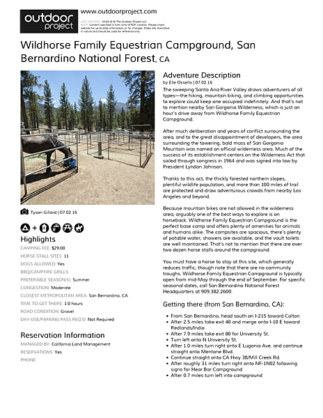 Wildhorse Family Equestrian Campground Field Guide