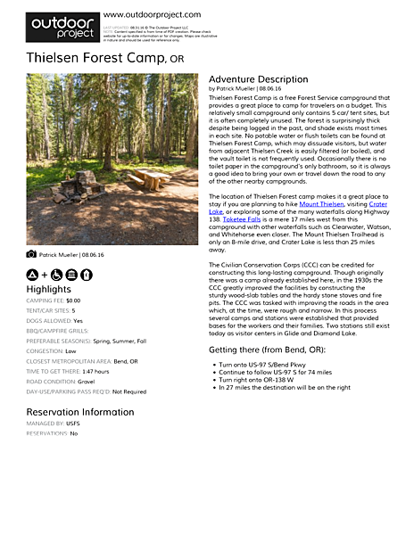 Thielsen Forest Camp Field Guide