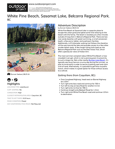 White Pine Beach, Sasamat Lake Field Guide