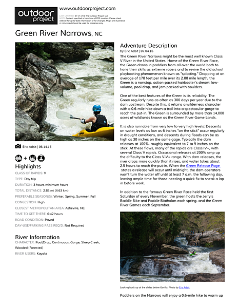 Green River Narrows Field Guide