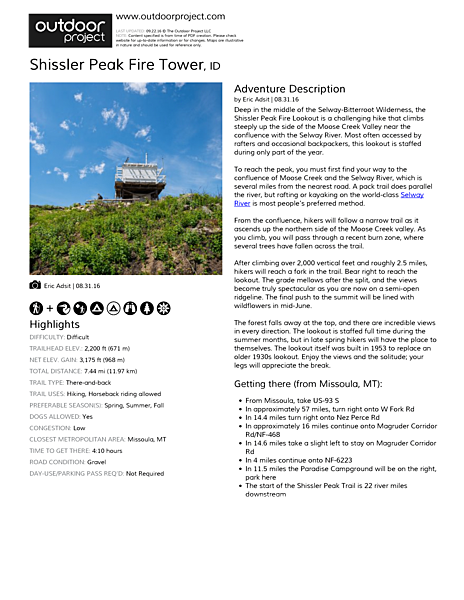 Shissler Peak Fire Tower Field Guide