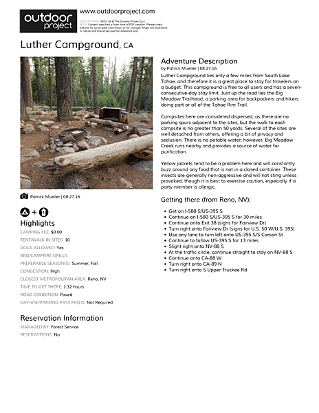 Luther Campground Field Guide