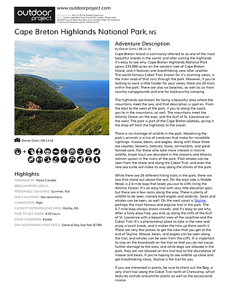 Cape Breton Highlands National Park Field Guide