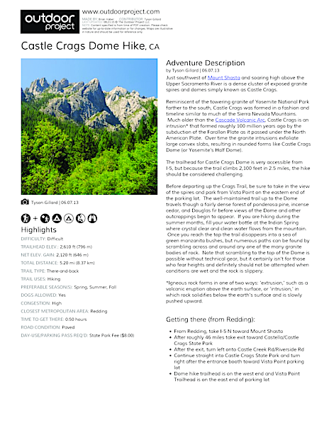Castle Crags Dome Hike Field Guide