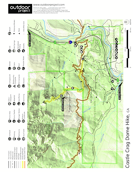 Castle Crags Dome Hike Trail Map