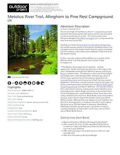 Metolius River Trail Field Guide