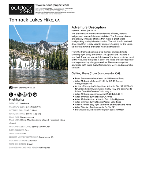 Tamrack Lakes Hike Field Guide