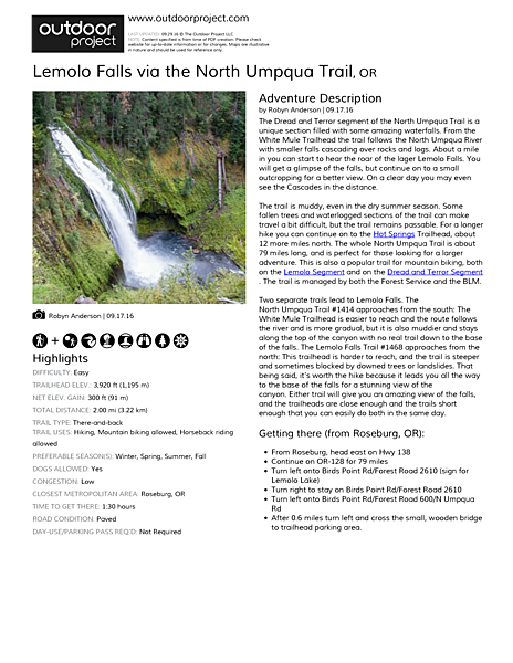Lemolo Falls via the North Umpqua Trail Field Guide