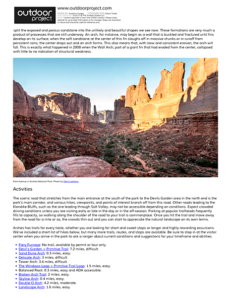 Arches National Park Field Guide