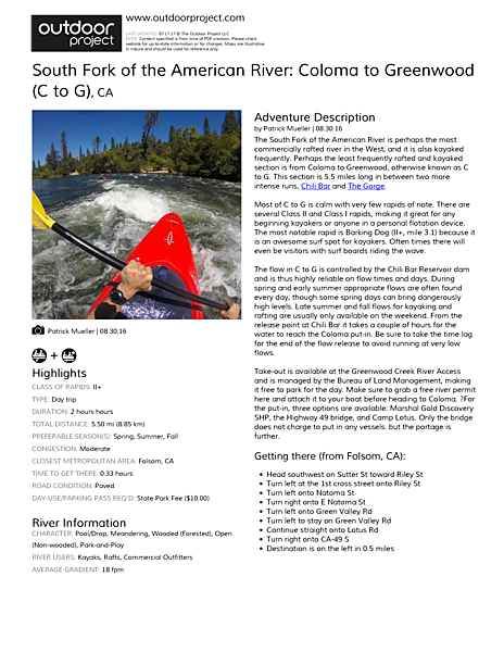 South Fork of the American River: Coloma to Greenwood (C to G) Field Guide