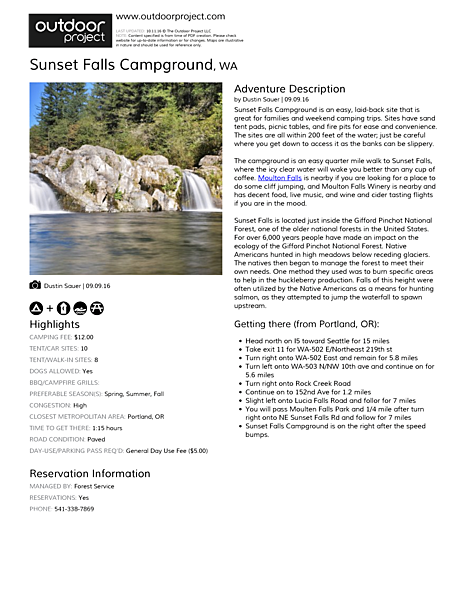 Sunset Falls Campground Field Guide