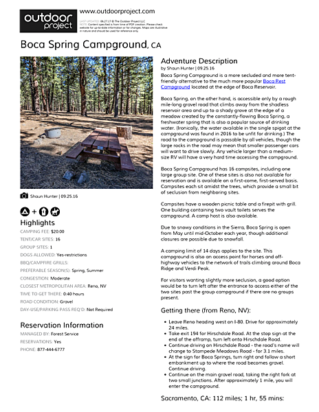Boca Spring Campground Field Guide
