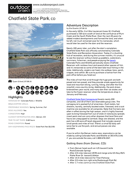 Chatfield State Park Field Guide
