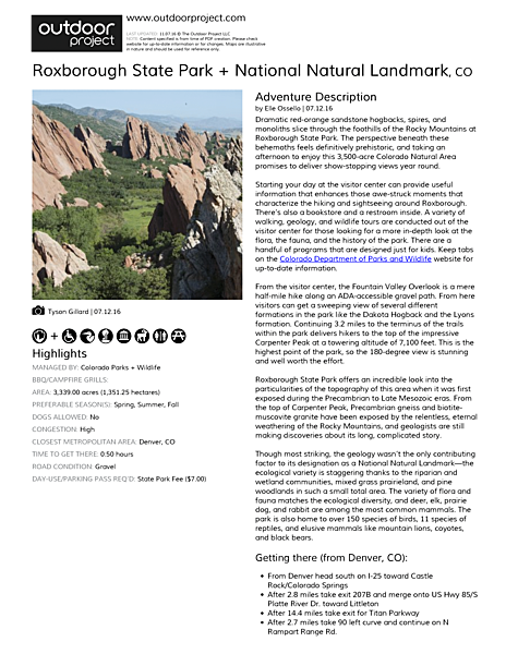 Roxborough State Park + National Natural Landmark Field Guide