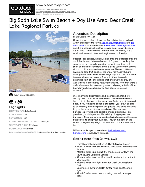 Big Soda Lake Swim Beach + Day Use Area Field Guide