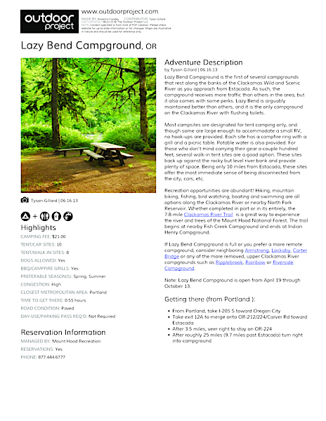 Lazy Bend Campground Field Guide