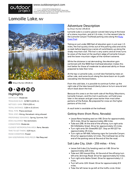 Lamoille Lake Field Guide