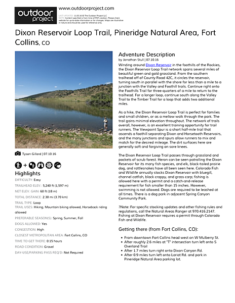 Dixon Reservoir Loop Trail Field Guide