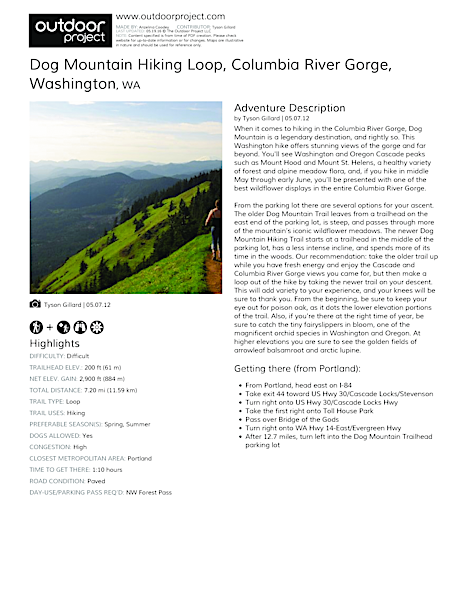 Dog Mountain Hiking Loop Field Guide