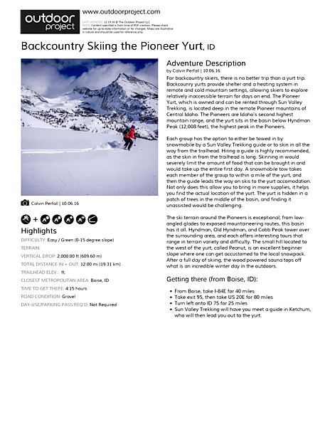 Backcountry Skiing the Pioneer Yurt Field Guide