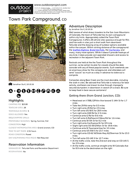 Town Park Campground Field Guide