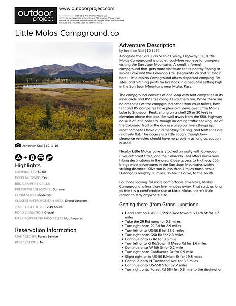 Little Molas Campground Field Guide