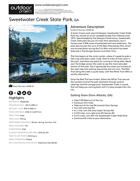 Sweetwater Creek State Park | Outdoor Project