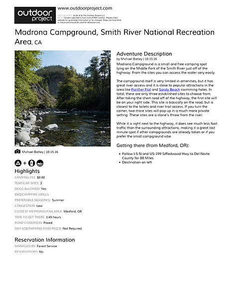 Madrona Campground Field Guide