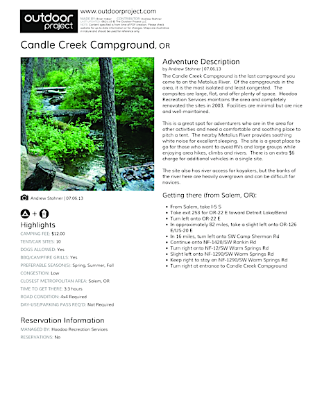 Candle Creek Campground Field Guide