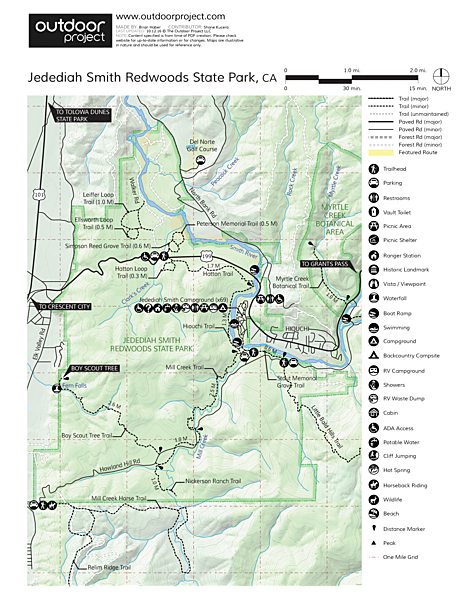 Jedediah Smith Redwoods State Park Map