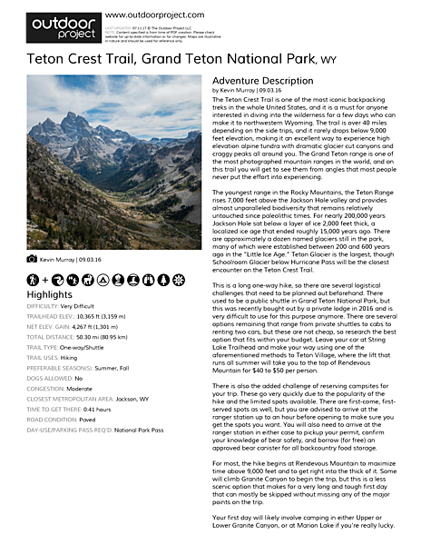 Teton Crest Trail Field Guide