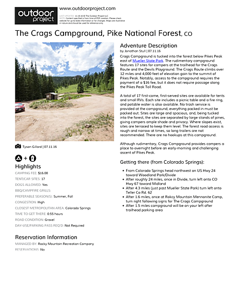 The Crags Campground Field Guide