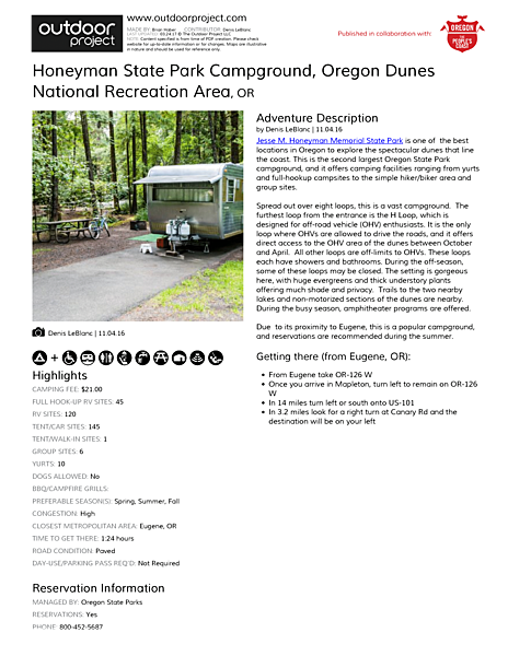 Honeyman State Park Campground Field Guide
