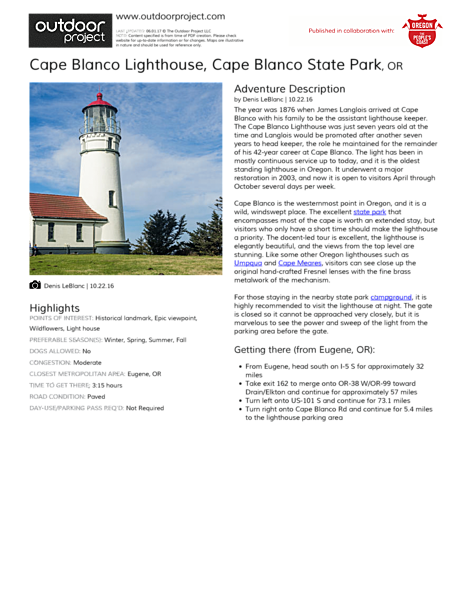 Cape Blanco Lighthouse Field Guide