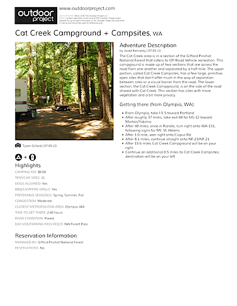 Cat Creek Campground + Campsites Field Guide