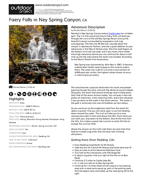 Faery Falls in Ney Spring Canyon Field Guide