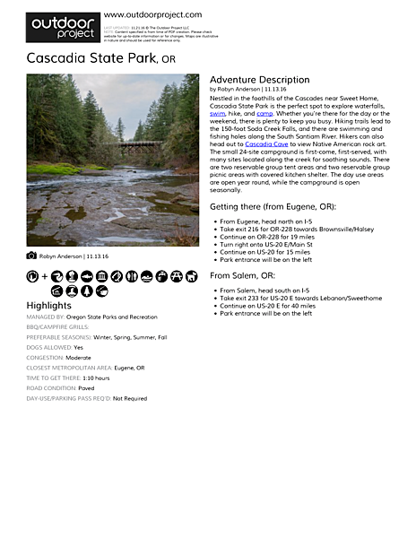 Cascadia State Park Field Guide