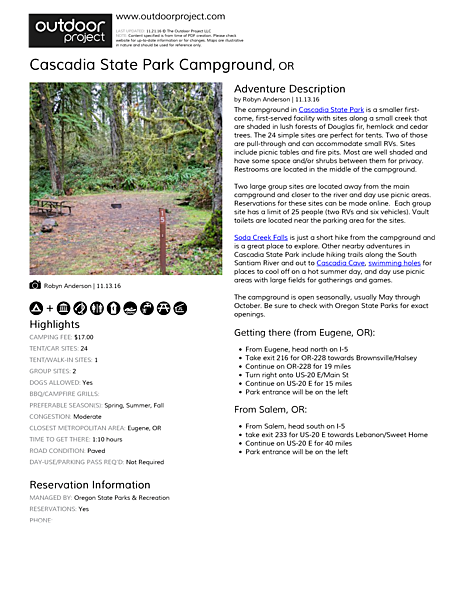 Cascadia State Park Campground Field Guide