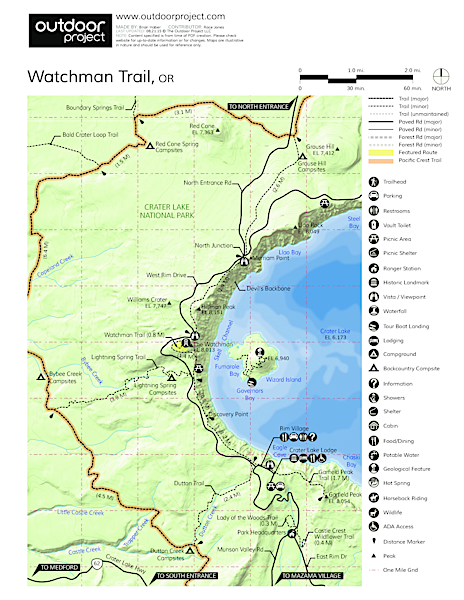 Watchman Trail to Watchman Tower Trail Map