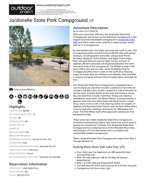 Jordanelle State Park Campground Field Guide