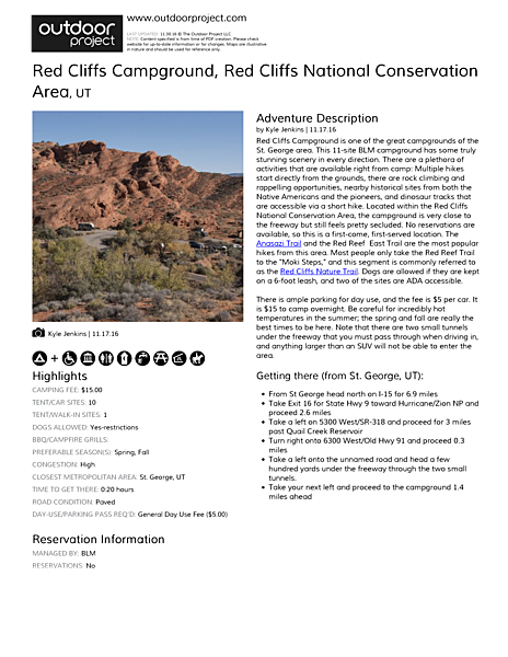Red Cliffs Campground Field Guide