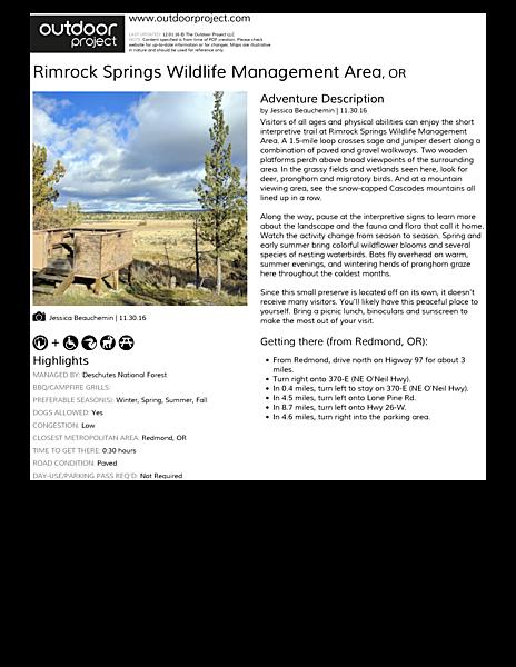 Rimrock Springs Wildlife Management Area | Outdoor Project