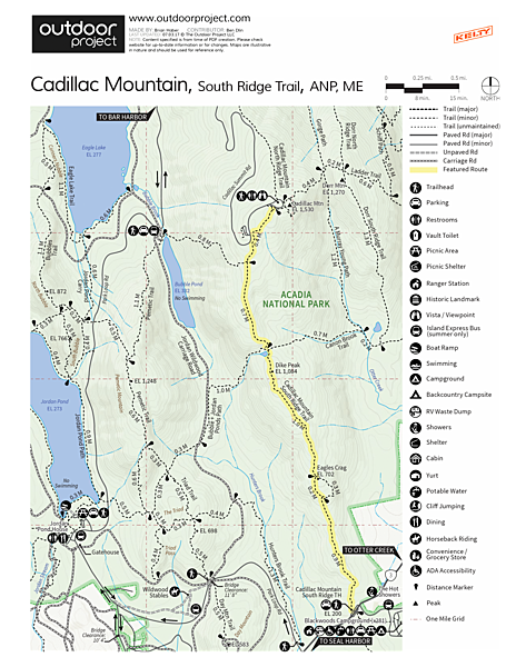 Cadillac Mountain South Ridge Trail Trail Map