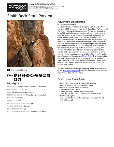 Smith Rock State Park Field Guide