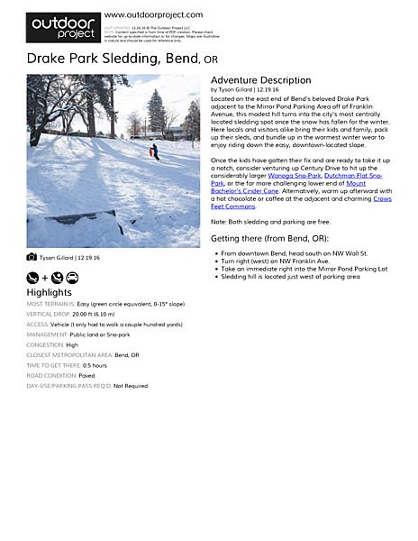 Drake Park Sledding Field Guide