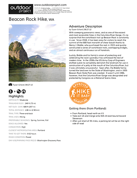 Beacon Rock Hike Field Guide