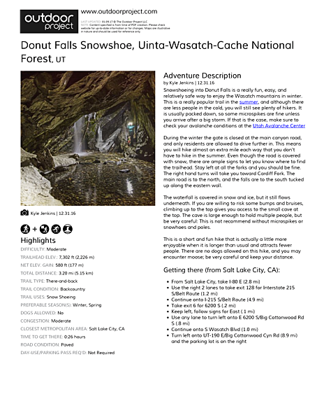 Donut Falls Snowshoe | Outdoor Project