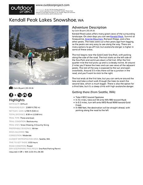 Kendall Peak Lakes Snowshoe Field Guide